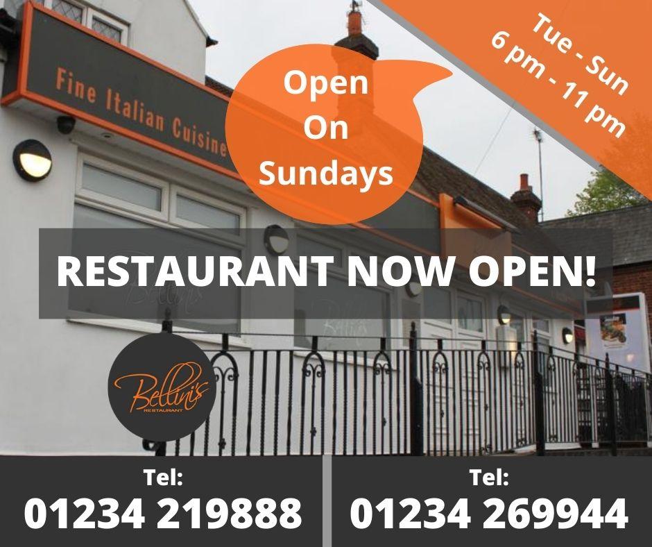 Italian Restaurant Bedford Bellinis Dine-in Now Open